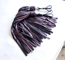 Load image into Gallery viewer, Purple Tiger Leather Finger Floggers - Pair