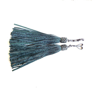 Green and Black Flocked Suede Finger Floggers