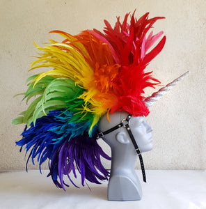 Rainbow Unicorn Headdress with Glitter Horn -Made to Order
