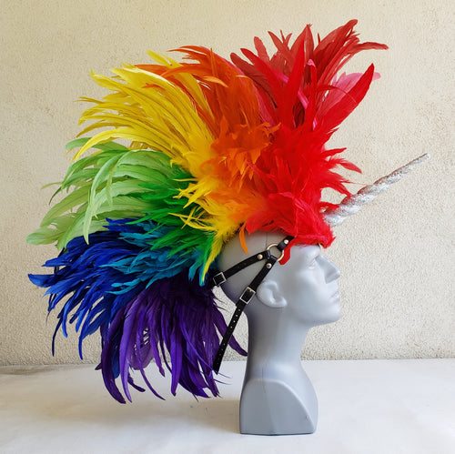 Rainbow Unicorn Headdress with Glitter Horn - Made to Order
