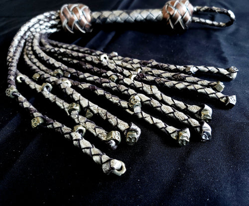 Repentance- Metal Skull Cat O Nine Tails- In Stock