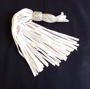 White Sevine Flogger with Gold Feathers