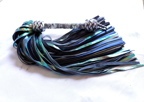 Fluorite and Labradorite Handle Leather Flogger
