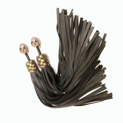 Skull Finger Floggers in Black and Bronze with Elk skin tails- In Stock