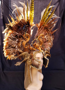 Valkyrie Feather Headdress - Festival Headdress, Mardi Gras Headress