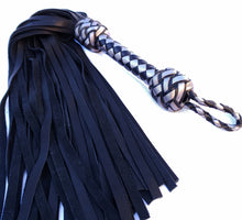 Load image into Gallery viewer, Black and Silver Leather Flogger