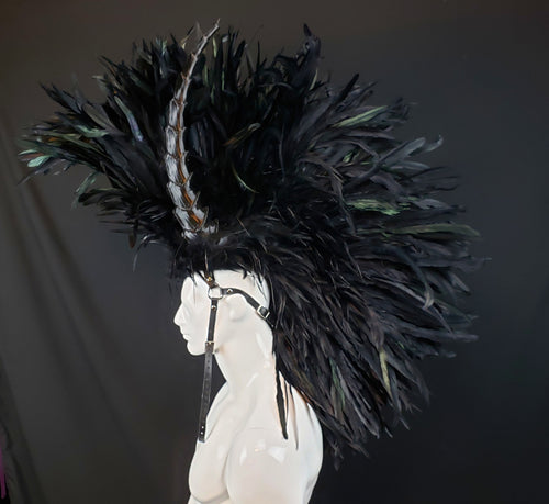 Black Feather Headdress Mohawk - Made to Order