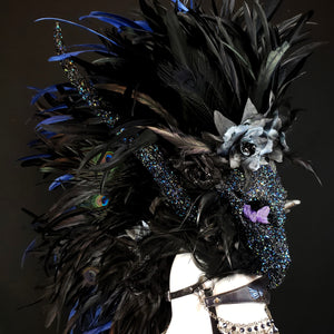 The Seer Headdress- Horned Headdress with Skulls, Crystals and rhinestones