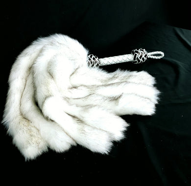 Silver Fox fur Fluffinator Faux Fur Flogger - In Stock