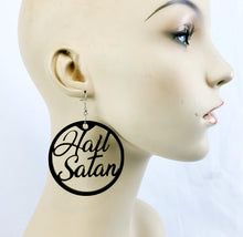 Load image into Gallery viewer, Hail Satan Earrings in black