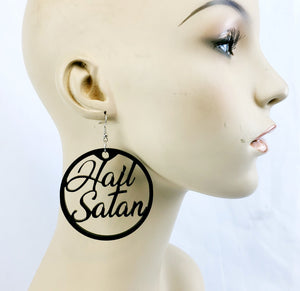Hail Satan Earrings in black