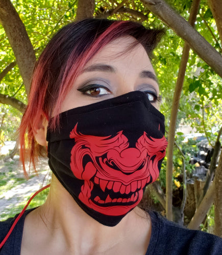 Red Oni Demon Fabric Face Mask