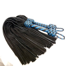 Load image into Gallery viewer, Teal and Black Flogger pair with Black Velvet Leather  tails