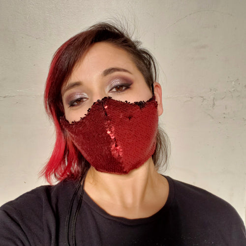 Red and Black Sequin Face Mask