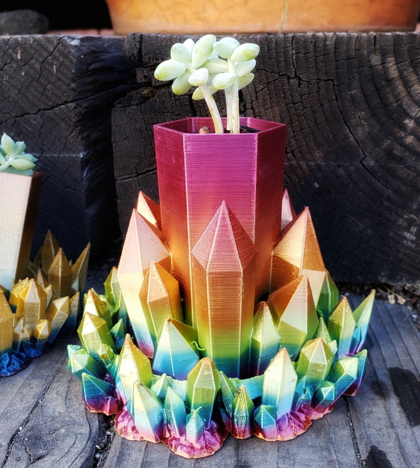 Rainbow Crystal Planter for small Succulent plants- Single