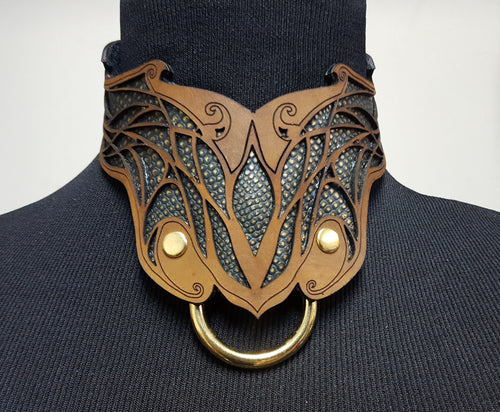 Elven Leather Collar- BDSM Collar