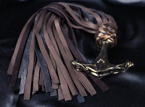 The Gemini Handle Floggers with Black Velvet Leather tails