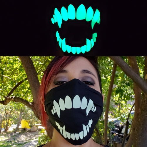 Glow in the Dark Fang Cloth Face Mask