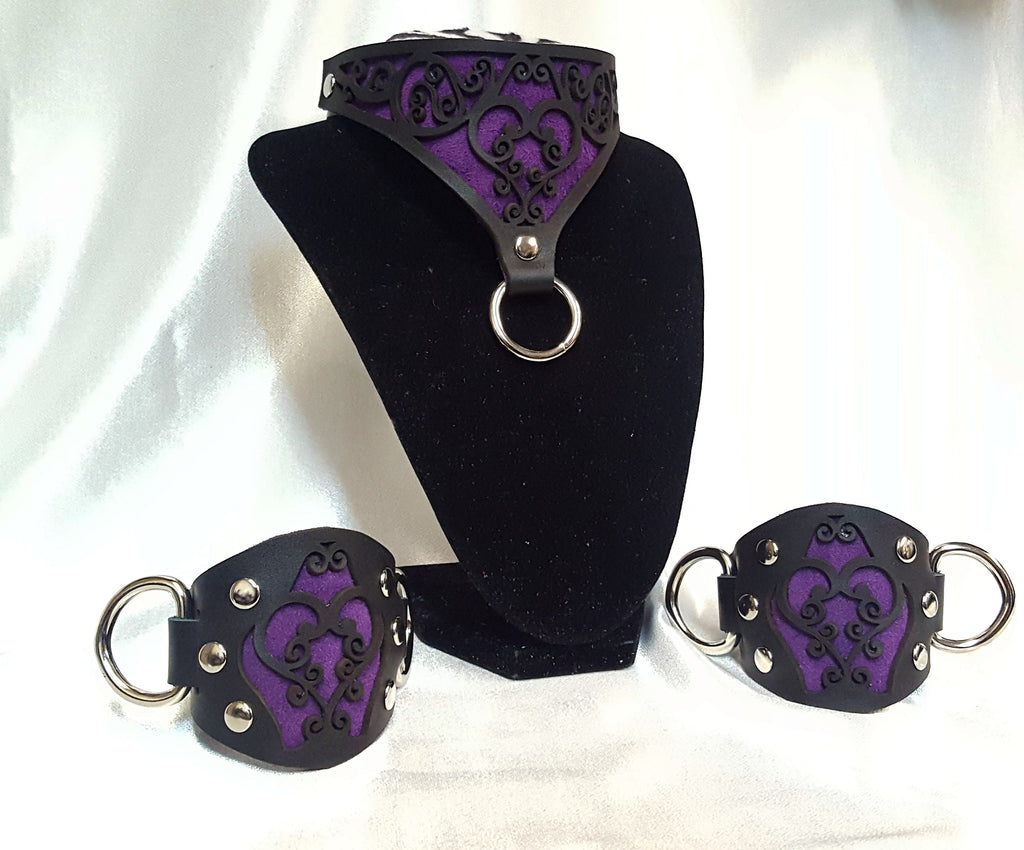 Heart Filigree Collar and Cuffs Set