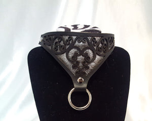 Metallic Leather Heart Collar