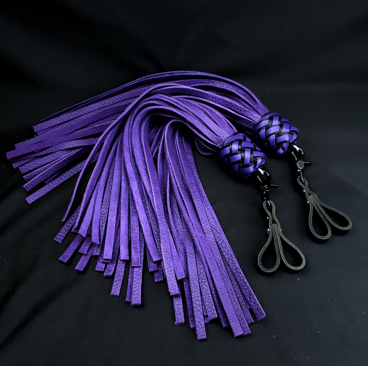 Purple Bullhide Swivel Finger Floggers