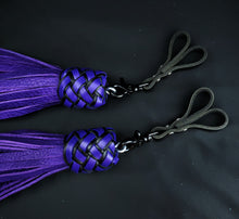 Load image into Gallery viewer, Purple Bullhide Swivel Finger Floggers