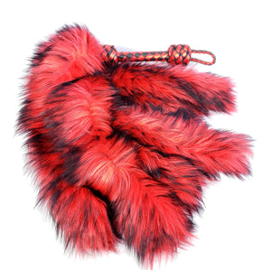 Red and Black Fluffinator flogger- in stock