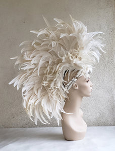White Feather Mohawk Headdress- Made to Order