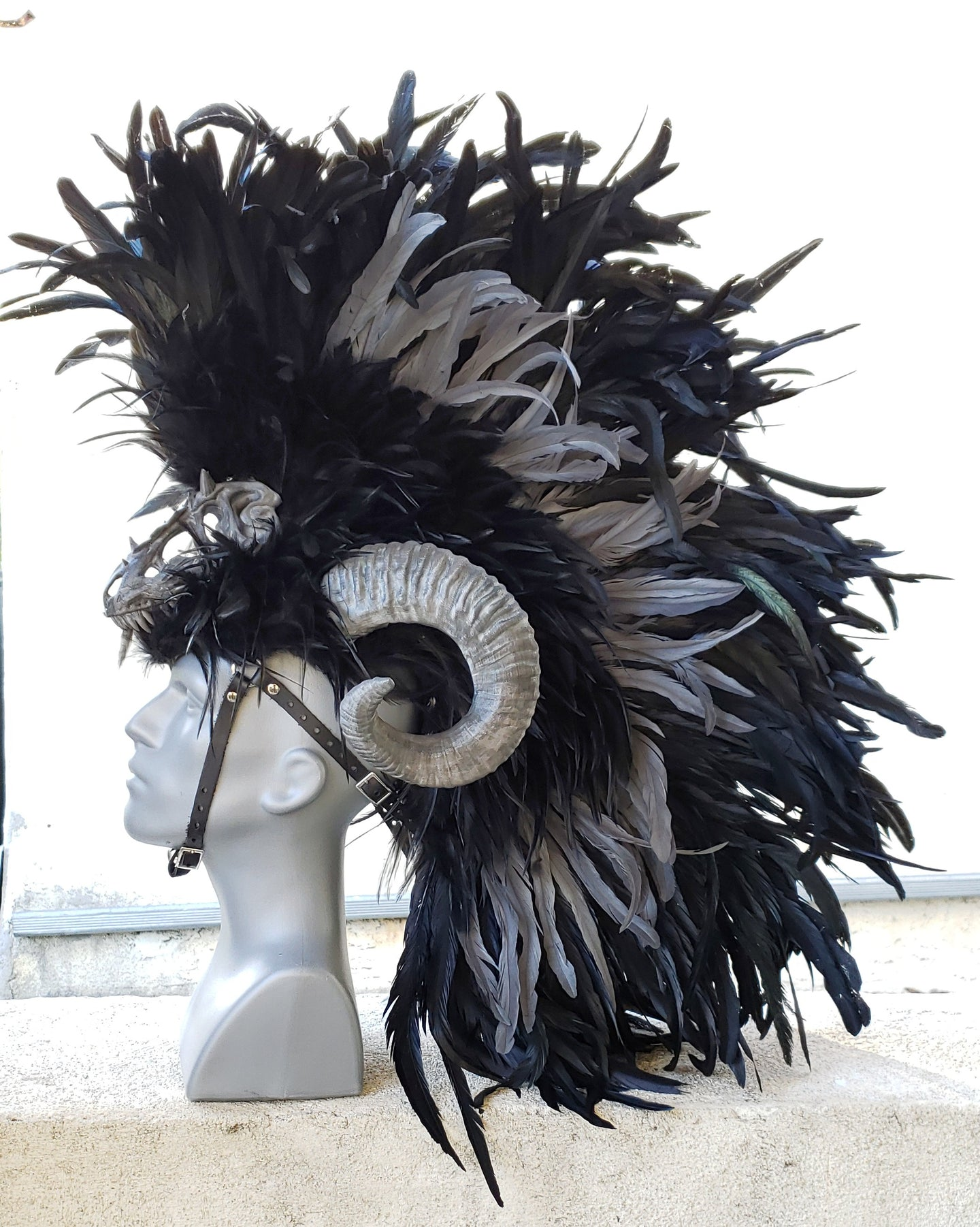 Dragon Slayer Headdress- Black feather headdress with ram horns and dragon skull