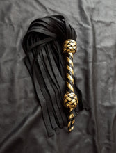 Load image into Gallery viewer, Black and Gold Elk Flogger - Made to Order