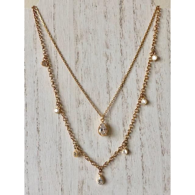 Sample Sale! Pear CZ Drop Necklace
