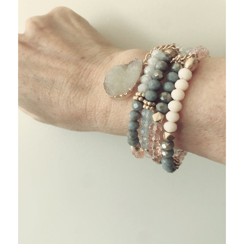 Grey Stack with Druzy Drop