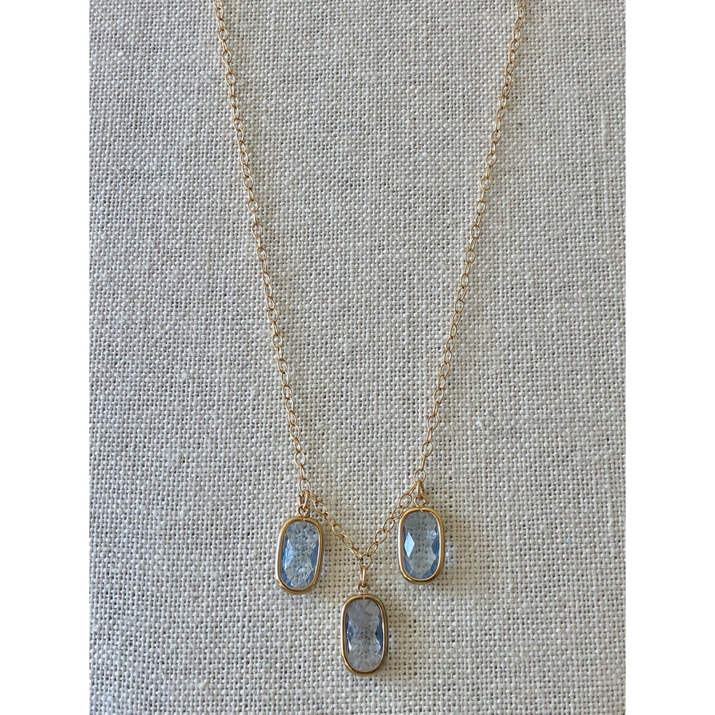 Sample Sale! Pale Blue 3 Stone Drop Necklace