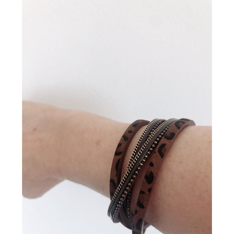 Brown Leopard Wrap Bracelet with Chain Border