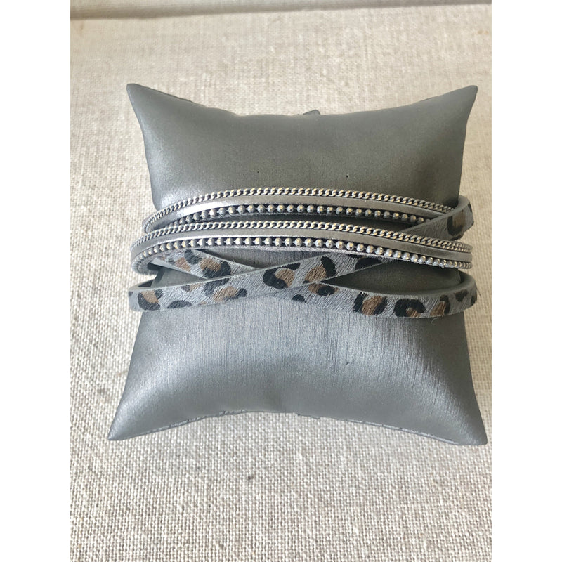 Grey Leopard Wrap Bracelet with Chain Border