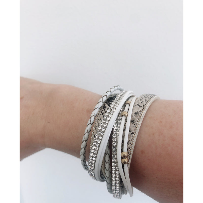 White Snake Cuff with Silver Mesh