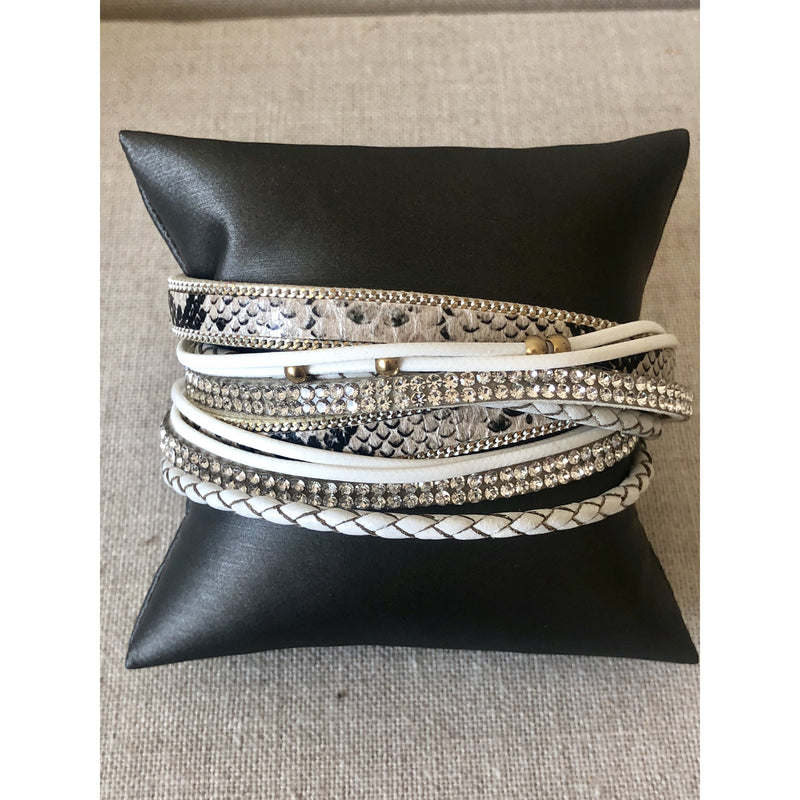 White Snake Wrap with Crystal Border
