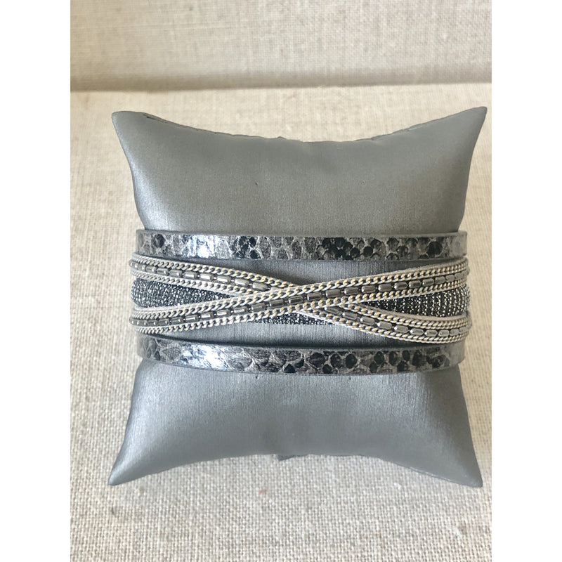 Grey Snake Cuff with Gunmetal Mesh