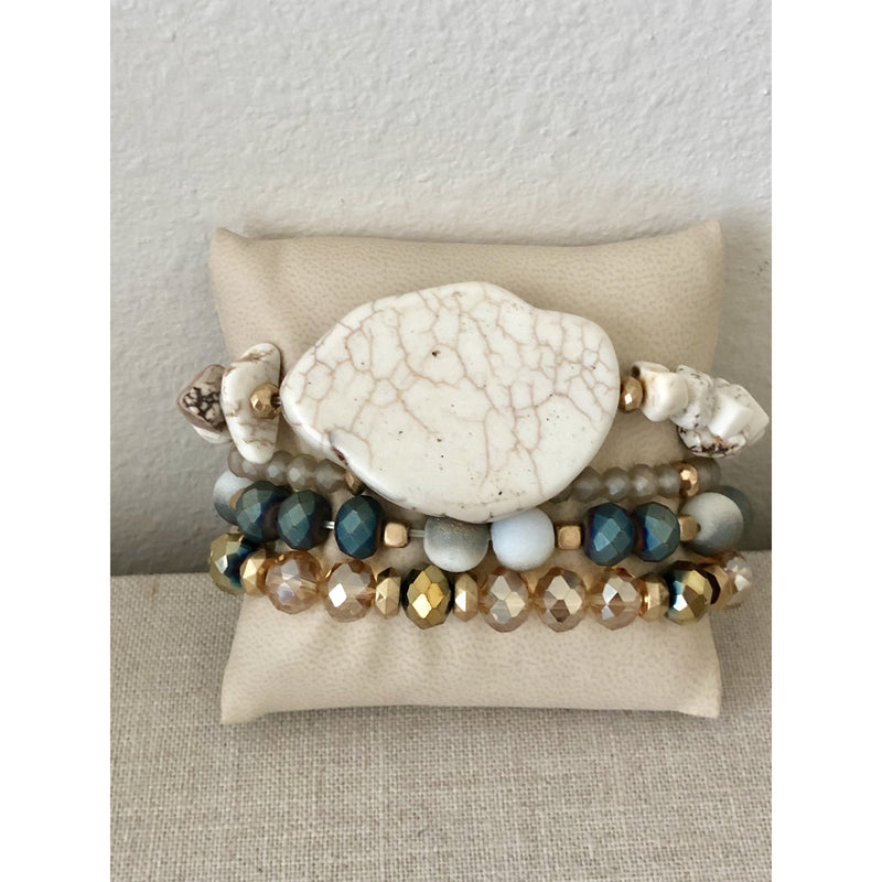 Gold and Blue Grey Stack with White Stone
