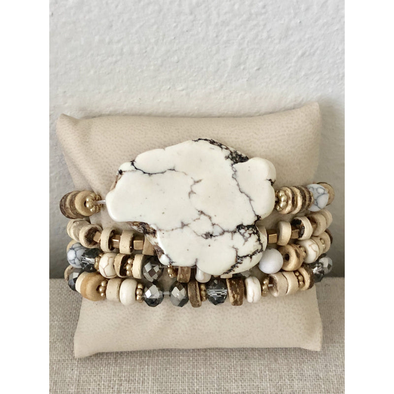 Wood Bead Stack with White Stone
