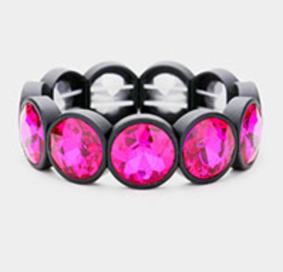 Large Round Bezel Stretch Bracelet
