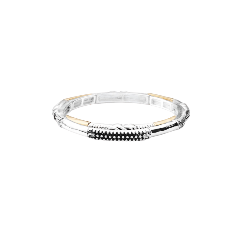 Mini Stretch Bead Bangle-Silver