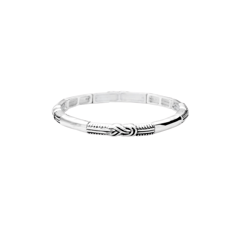 Mini Stretch Braided Bangle-Silver