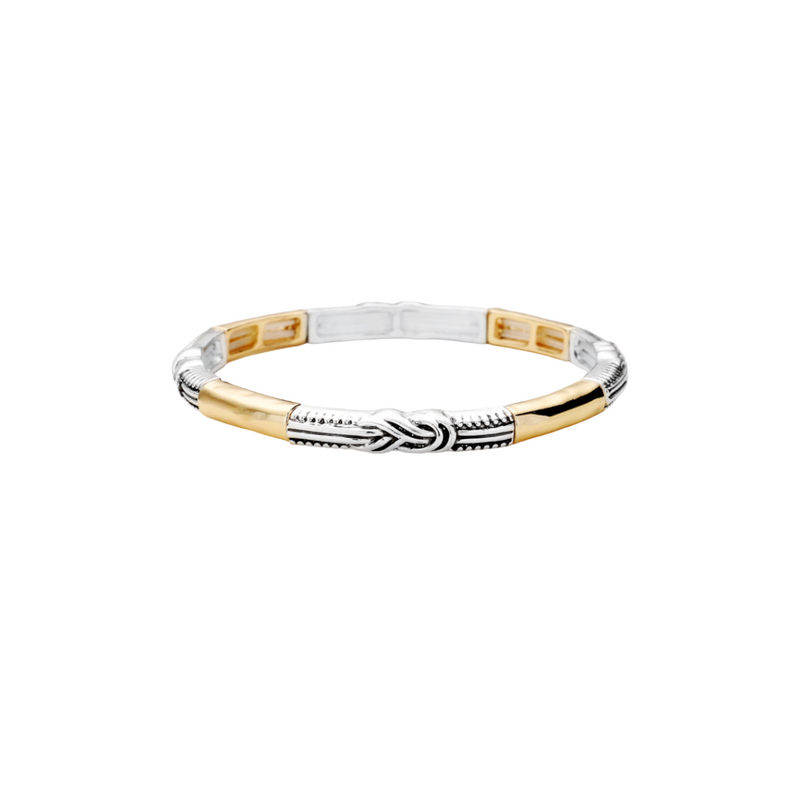 Mini Stretch Braided Bangle-Gold/Silver