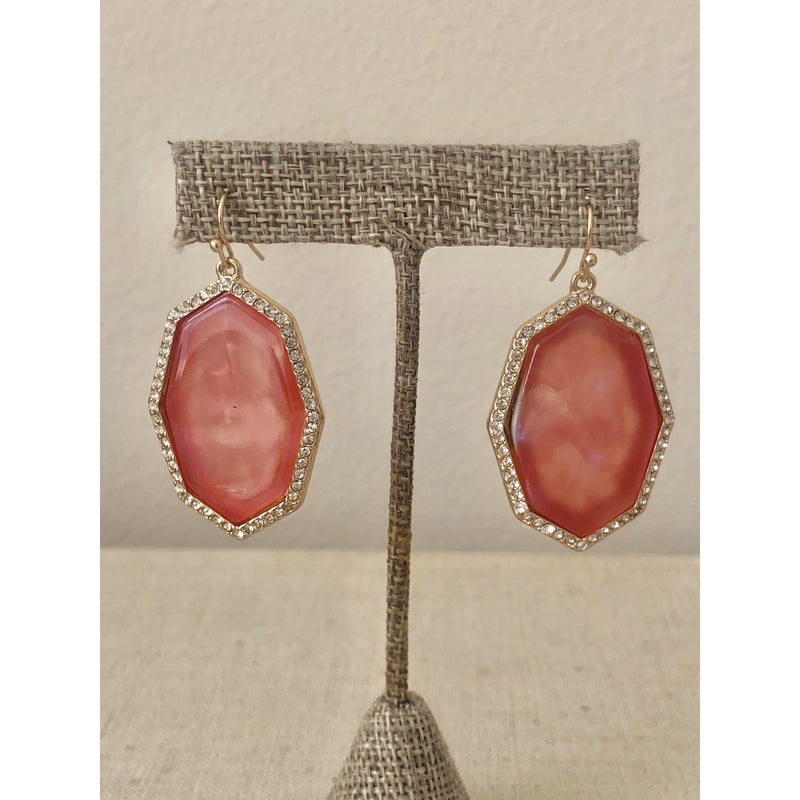 Sample Sale! Octagon Drop Earring-Coral