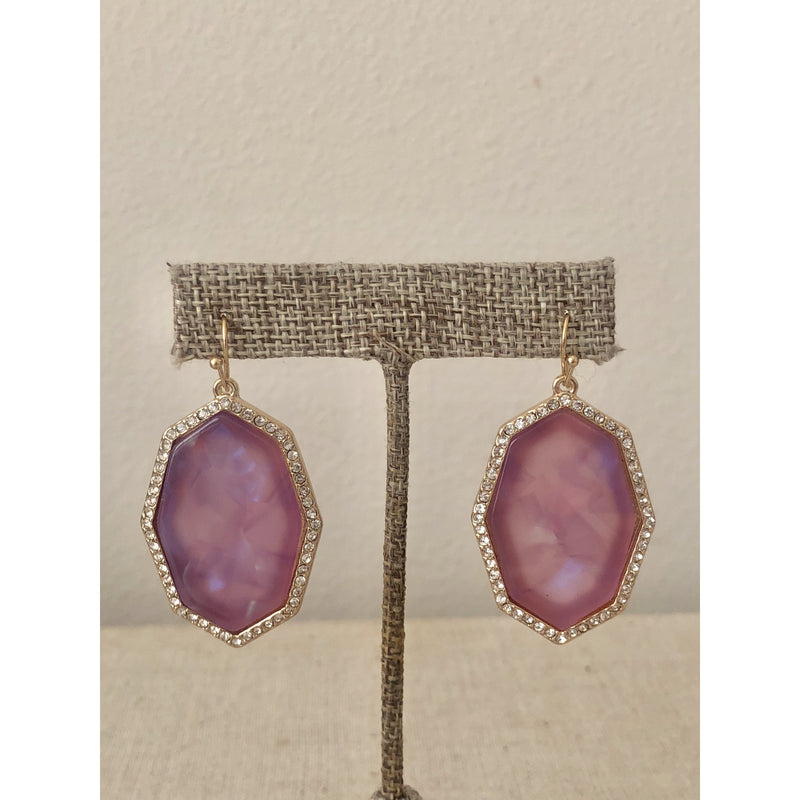 Sample Sale! Octagon Earring-Pink/Lavender