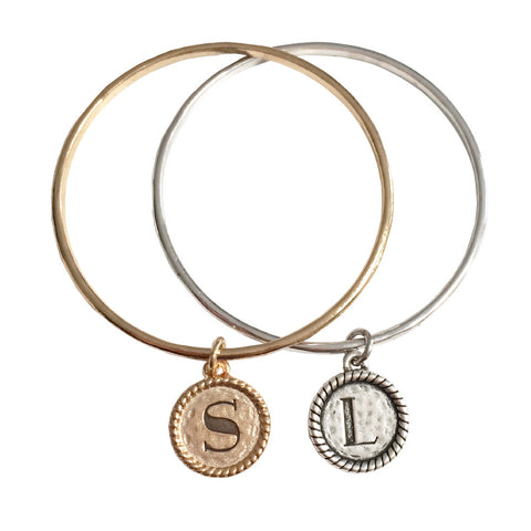 Coventry Bangle With Round Initial Drop