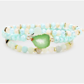 Holiday Druzy Stack-Mint