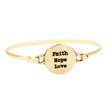 Faith Hope Love Bangle-Gold