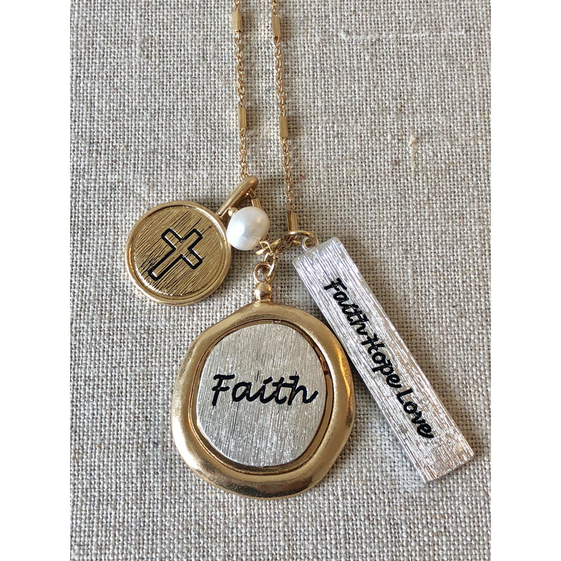 The Fast Flash! Faith Cluster Necklace-Gold